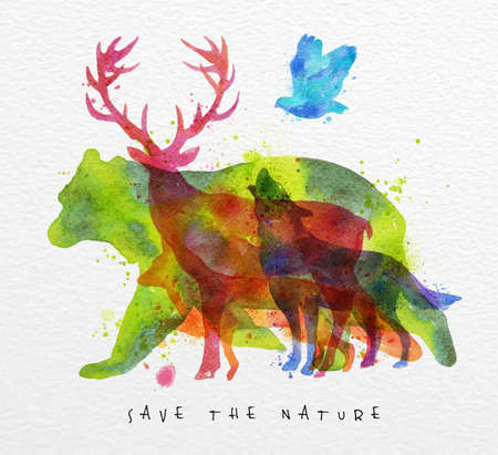 Color animals ,bear, deer, wolf, fox,  bird, drawing overprint on watercolor paper background lettering save the nature Ilustração