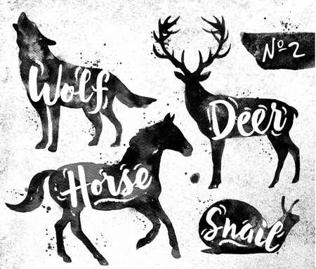Siluety živočišného jelenů, kůň, hlemýžď, vlk kreslení černou barvou na pozadí špinavé papíru