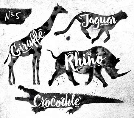 animales silvestres: Siluetas de animales de la jirafa, rinoceronte, cocodrilo, guepardo dibujo pintura negro sobre fondo de papel sucio Vectores