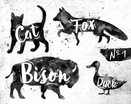 black: Silhouettes of animal cat, fox, bison, duck drawing black paint on background of dirty paper