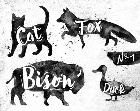 koty: Sylwetki kotów zwierząt, lisa, żubrów, kaczka rysunek czarną farbą na tle brudnego papieru Ilustracja