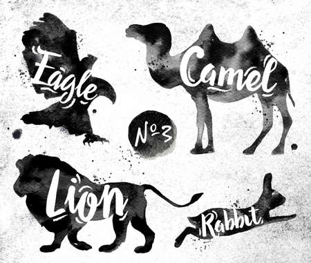 lion cartoon: Silhouettes of animal camel, eagle, lion, rabbit drawing black paint on background of dirty paper