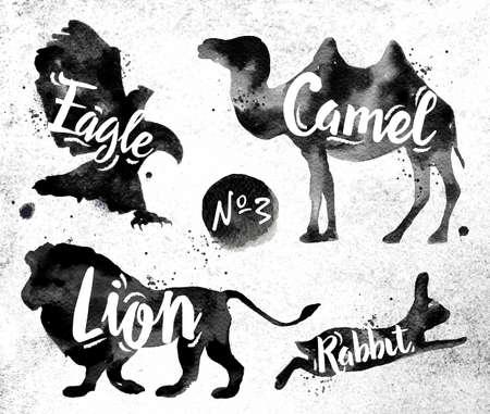 leones: Siluetas de animal camello, águila, león, conejo dibujo pintura negro sobre fondo de papel sucio
