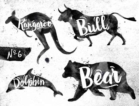 동물: 더러운 종이의 배경에 검은 페인트를 그리기 동물 돌고래, 곰, 황소, 캥거루의 실루엣