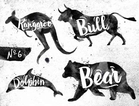 animais: Silhuetas de golfinho animal, urso, touro, canguru desenho de tinta preta no fundo de papel sujo