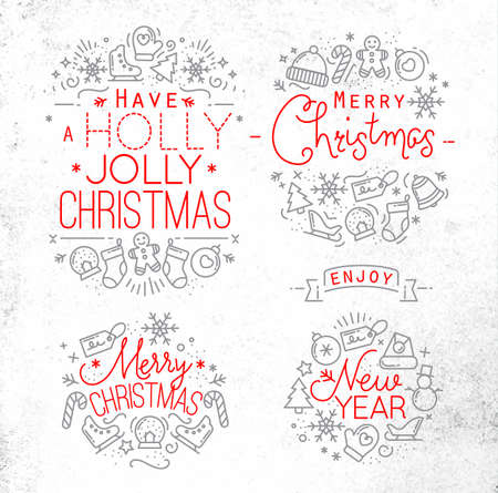 decorative lines: Christmas decorative elements for winter holidays in flat style,  drawing with grey and red lines on dirty paper Illustration