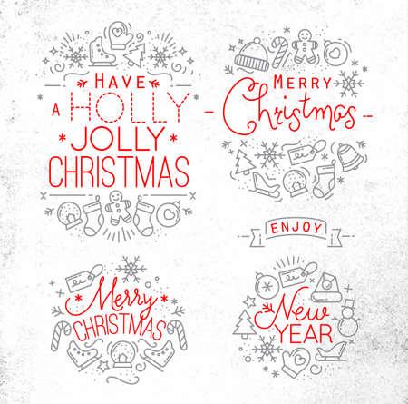 lineas decorativas: Navidad elementos decorativos para las vacaciones de invierno en estilo plano, dibujo con líneas grises y rojas en papel sucio Vectores