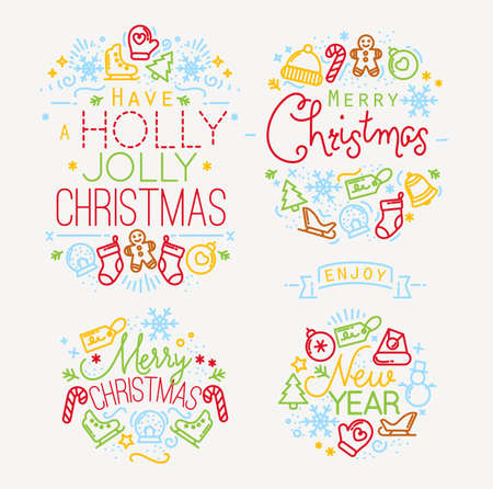 winter holidays: Christmas decorative elements for winter holidays in flat style, drawing by color lines