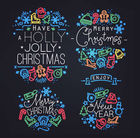 holidays: Christmas decorative elements for winter holidays in flat and neon style, drawing by color lines on black background Illustration