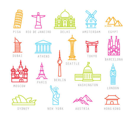 City icons in color flat style with names Pisa, Rio, Delhi, Amsterdam, Dubai, Athens, Seattle, Tokyo, Barcelona, Berlin, Washington, Paris, London, Sydney, New York, Hong Kong