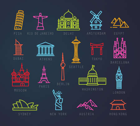 seattle: City icons in neon flat style with names Pisa, Rio, Delhi, Amsterdam, Dubai, Athens, Seattle, Tokyo, Barcelona, Berlin, Washington, Paris, London, Sydney, New York, Hong Kong