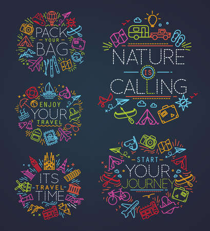 jorney: Travel monograms drawing with flat vivid neon lines lettering pack your bag, enjoy your travel, its travel time, start your jorney, nature is calling