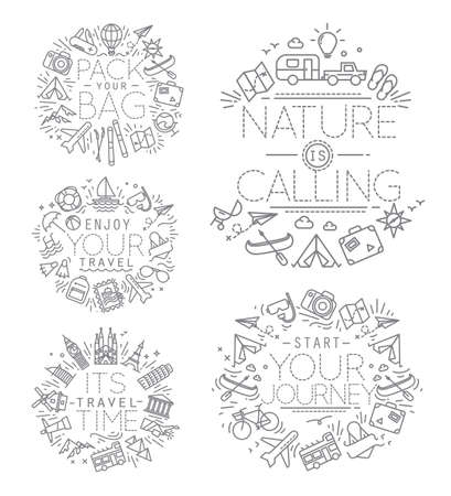 jorney: Travel monograms drawing with flat grey lines lettering pack your bag, enjoy your travel, its travel time, start your jorney, nature is calling