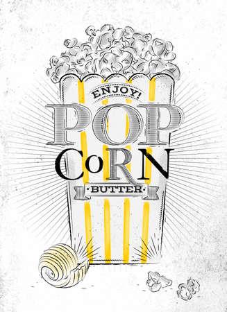 popcorn: Cartel de mantequilla de las palomitas de ma�z, lleno cubo de mantequilla de las palomitas de ma�z, con las l�neas amarillas, dibujo en el antiguo fondo de papel