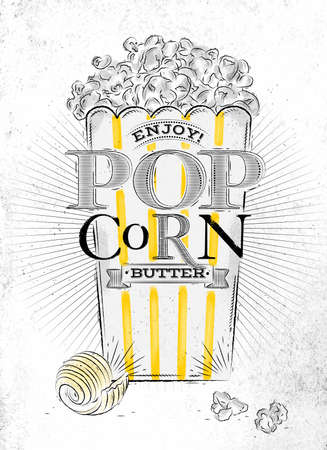 buttered: Poster popcorn butter, full bucket of popcorn butter, with yellow lines, drawing on the old paper background Illustration
