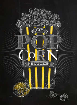 movie and popcorn: Poster popcorn butter, full bucket of popcorn butter, with yellow lines, drawing with chalk on blackboard
