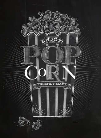Poster popcorn, full bucket of popcorn, lettering enjoy popcorn freshly made drawing with chalk on blackboard