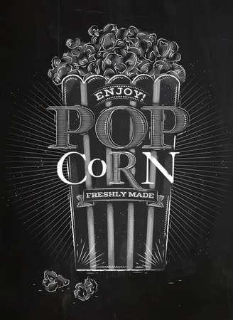 popcorn: Poster popcorn, full bucket of popcorn, lettering enjoy popcorn freshly made drawing with chalk on blackboard