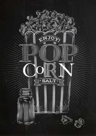 buttered: Poster popcorn salt, full bucket of popcorn salt, drawing with chalk on blackboard Illustration