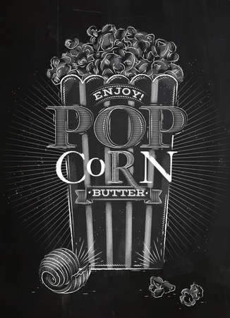 buttered: Poster popcorn butter, full bucket of popcorn butter, drawing with chalk on blackboard