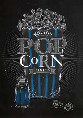 buttered: Poster popcorn salt, full bucket of popcorn salt, with blue lines, drawing with chalk on blackboard