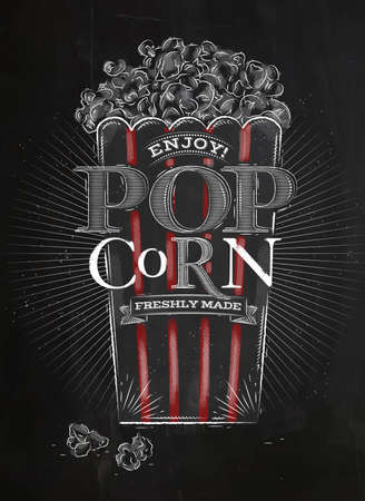 movie and popcorn: Poster popcorn, full bucket of popcorn, with red lines, lettering enjoy popcorn freshly made drawing with chalk on blackboard Illustration