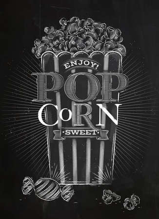 buttered: Poster popcorn sweet, full bucket of popcorn sweet, drawing with chalk on blackboard