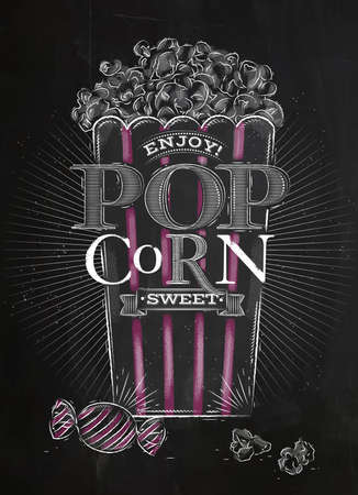buttered: Poster popcorn sweet, full bucket of popcorn sweet, with pink lines, drawing with chalk on blackboard Illustration