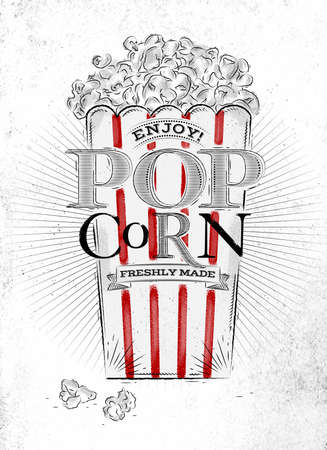 theater popcorn: Poster popcorn, full bucket of popcorn, with red lines, lettering enjoy popcorn freshly made drawing on the old paper background