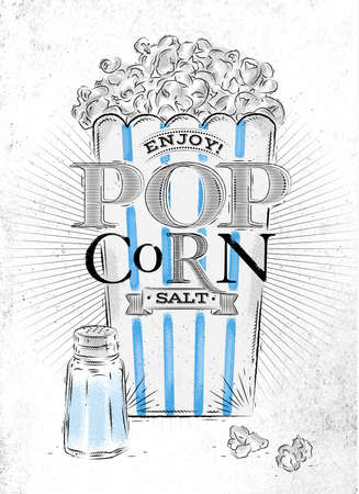 buttered: Poster popcorn salt, full bucket of popcorn salt, with blue lines, drawing on the old paper background