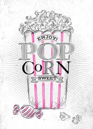palomitas de maiz: Cartel de las palomitas de maíz dulce, palomitas de cubeta llena de dulce, con líneas de color rosa, dibujo en el antiguo fondo de papel