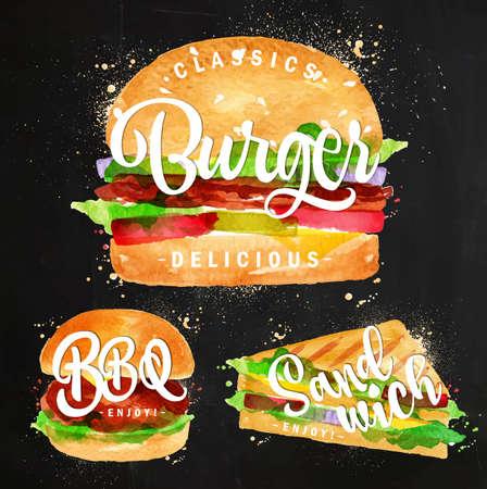 bocadillo: Conjunto de hamburguesa clásica, hamburguesa de barbacoa y sándwich dibujo con pintura de color en la pizarra.