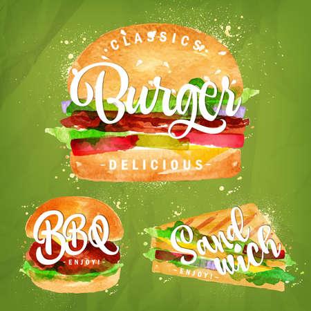 queso fresco blanco: Conjunto de hamburguesa clásica, hamburguesa de barbacoa y sándwich dibujo con pintura de color sobre fondo verde.