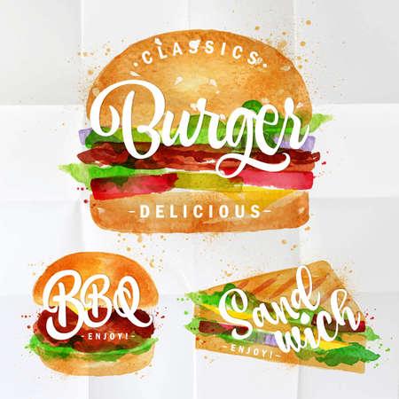 Sor klasszikus burger, BBQ hamburger és szendvics rajz színes festékkel összegyűrt papír.