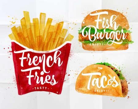 papas fritas: Conjunto de patatas fritas, hamburguesa de pescado y tacos de dibujo con pintura de color sobre papel arrugado. Vectores