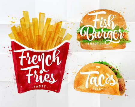 Set di patatine fritte, hamburger di pesce e tacos di disegno con vernice di colore su carta stropicciata.