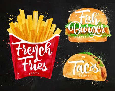 thực phẩm: Đặt khoai tây chiên, bánh burger cá và tacos vẽ bằng sơn màu trên bảng đen.