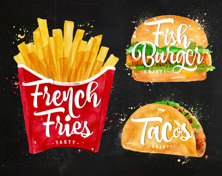 burger and fries: Set of french fries, fish burger and tacos drawing with color paint on chalkboard. Illustration