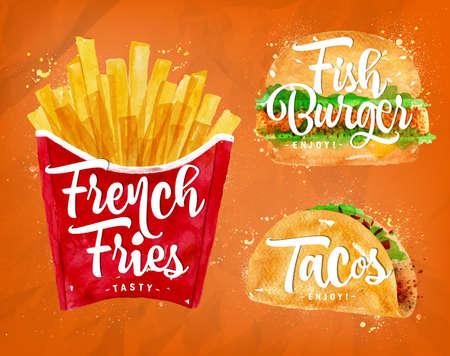 フライド ポテトのセット、魚バーガーやタコスの色で描画は、オレンジ色の背景をペイントします。  イラスト・ベクター素材