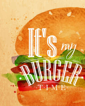 lunch food: Poster burger lettering Its my burger time drawing with color paint on kraft background.