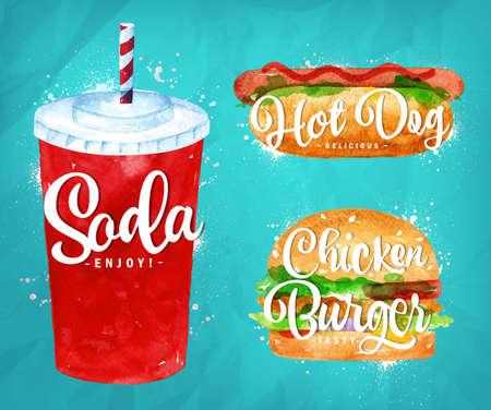 cibo: Set di acqua gassata, hot dog e hamburger di pollo disegno con vernice di colore su sfondo blu.