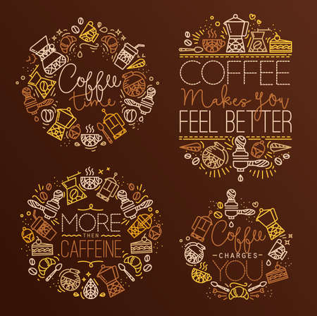 caffeine: Coffee icon monograms in flat style, drawing with brown lines on dark brown background lettering coffee time, coffee makes you feel better, more then caffeine, coffee charges you
