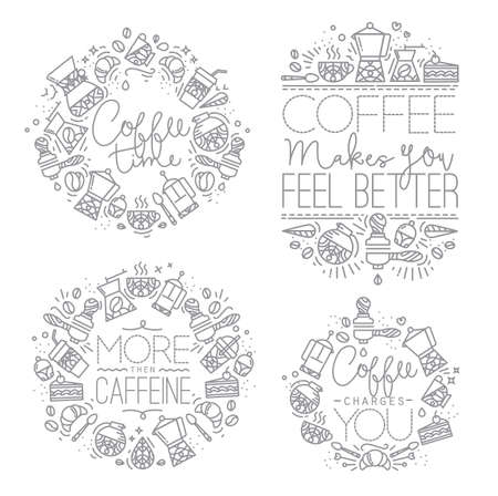 caffeine: Coffee icon monograms in flat style, drawing with grey lines on white background lettering coffee time, coffee makes you feel better, more then caffeine, coffee charges you
