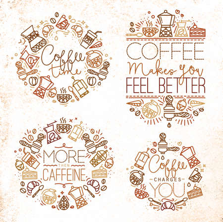 caffeine: Coffee icon monograms in flat style, drawing with brown lines on white background lettering coffee time, coffee makes you feel better, more then caffeine, coffee charges you