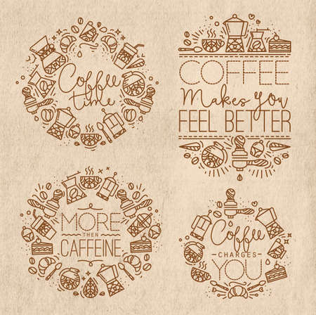 Coffee icon monograms in old flat style, drawing with brown lines on kraft background lettering coffee time, coffee makes you feel better, more then caffeine, coffee charges you Illustration