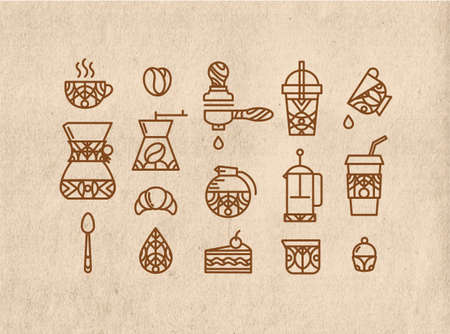 kraft: Coffee icons in flat style drawing by thin brown lines on kraft background