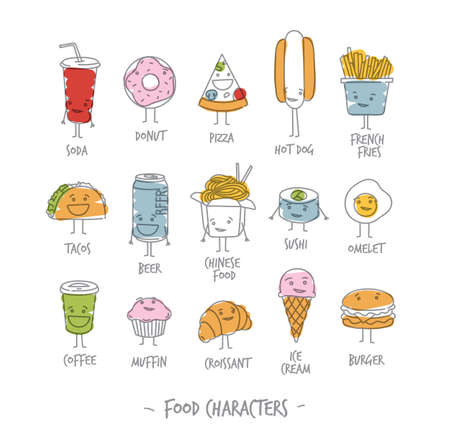 Comic food characters drawing with flat lines and color paint on white background