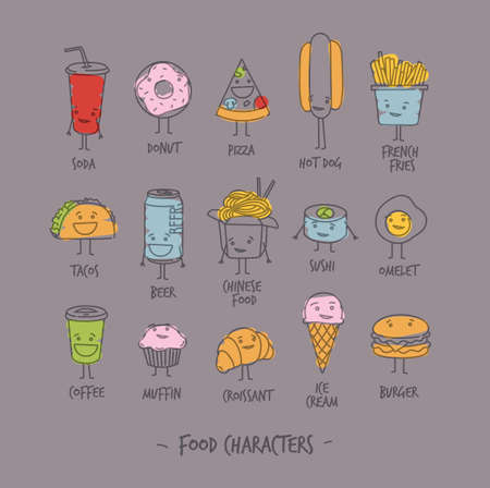 Comic food characters drawing with flat lines and color paint on gray background