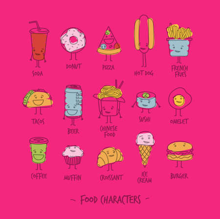 egg sandwich: Comic food characters drawing with flat lines and color paint on pink background