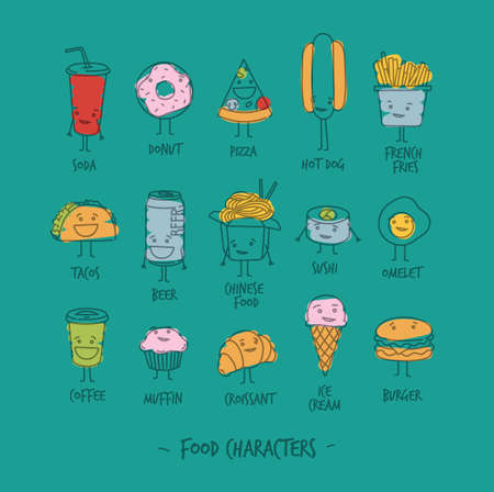 burger cartoon: Comic food characters drawing with flat lines and color paint on turquoise background